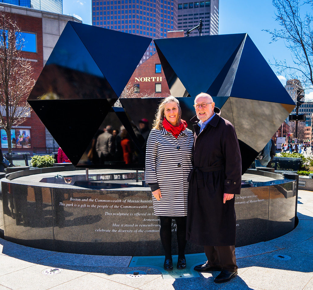 In front of the 2015 configuration of the Abstract Sculpture, Julie Barros, Boston Chief of Arts & Culture with architect Donald Tellalian
