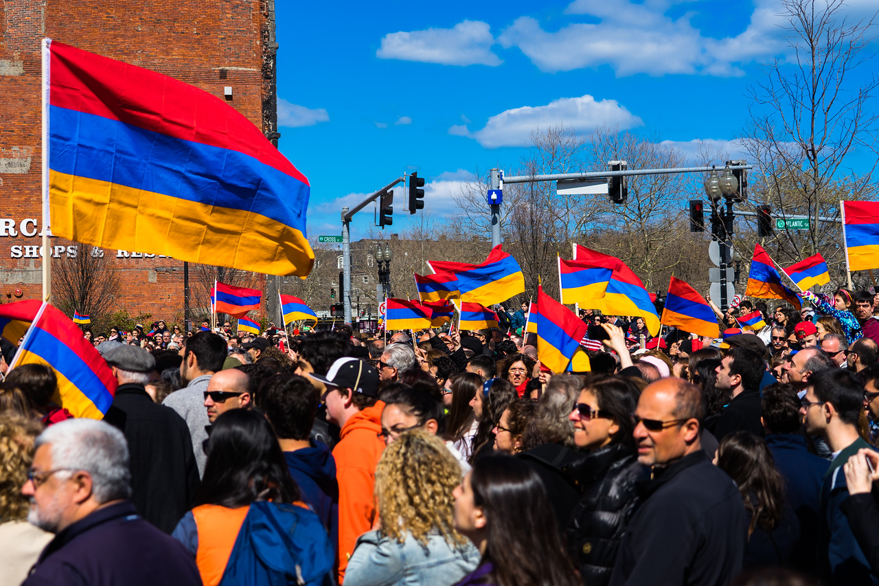 Armenian flags wave at the commemoration on the Greenway