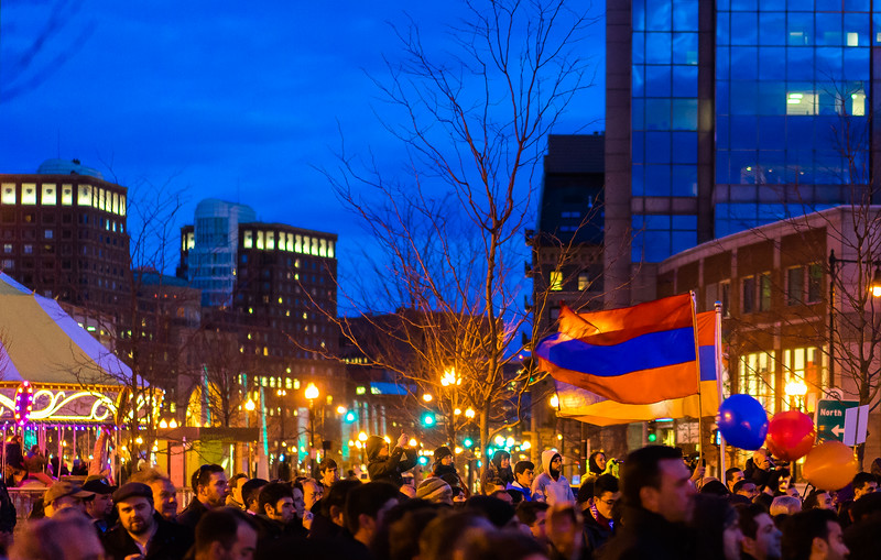 Armenian flags waved as a youth-led vigil was held at Armenian Heritage Park on the Greenway