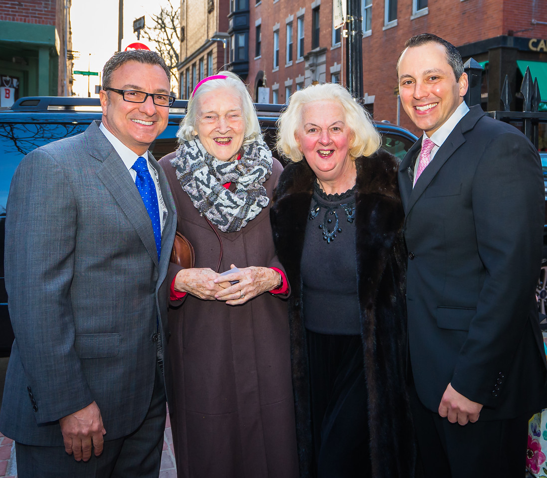 Councilor Sal LaMattina (left) and Rep. Aaron Michlewitz (right) are joined by North Enders Rosemary McAuliffe and Michele Morgan