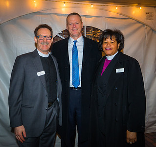 From the left, Rev. Stephen Ayres, Governor Charles Baker and Rt. Rev. Gayle Harris