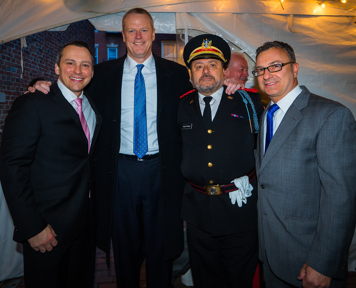 Governor Charlie Baker (2nd from left) is joined by local officials State Rep. Aaron Michlewitz (left), City Councilor Sal LaMattina (right) and Donato Frattaroli (2nd from right)
