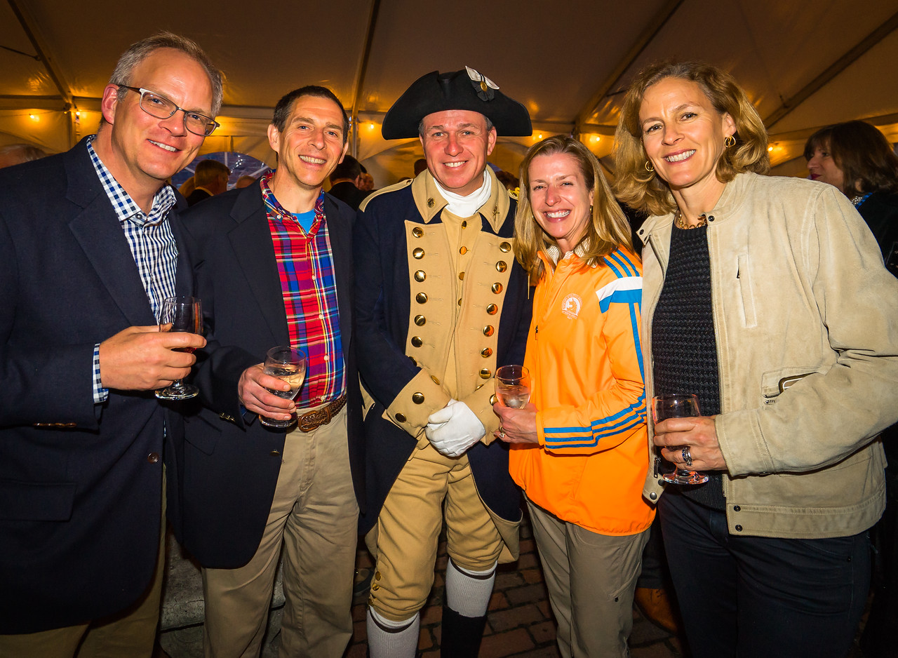 Boston Marathon runners and reenactors at the Lantern Ceremony reception