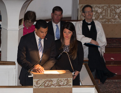 "Mass. Dept. of Veterans' Services Secretary Francisco Urena & Jennifer Siegler read Longfellow's poem ""Paul Revere's Ride"""