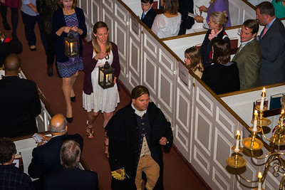 Paul Revere re-enactor Michael LePage leads Lantern Carriers from Partners Health