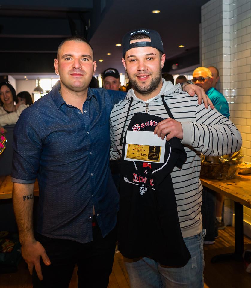 Matthew congratulates Boston Barber Tattoo winner