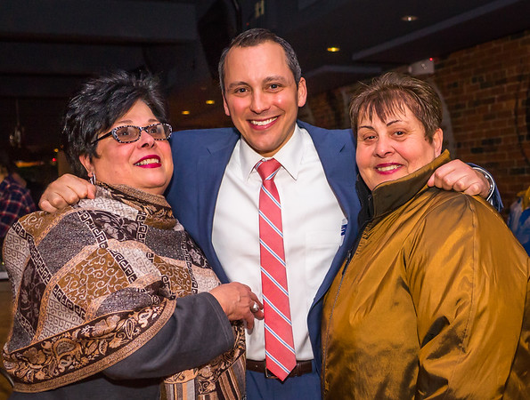 "State Rep. Aaron Michlewitz with Marie ""ReRe"" Bamonte (left) and Michele Tirella"