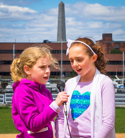 Sarah and Annie sing the National Anthem on NEAA Opening Day