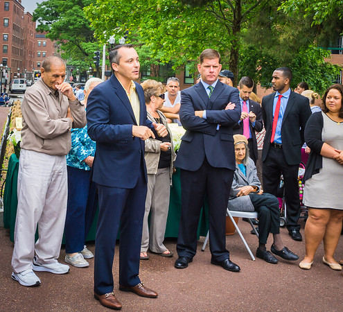 State Rep. Aaron Michlewitz speaks at the Mayor's Coffee Hour
