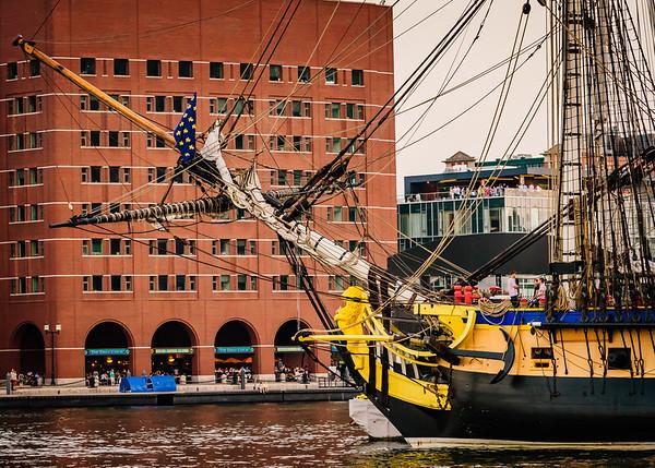 Mast of L'Hermione docked in Boston Harbor