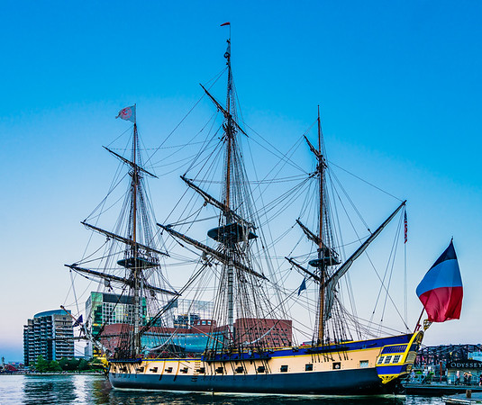 L'Hermione, a French tall ship, docked at Rowes Wharf