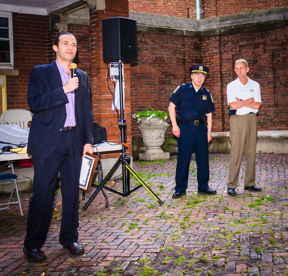 North End Public Safety Chair David Marx speaks at North End National Night Out
