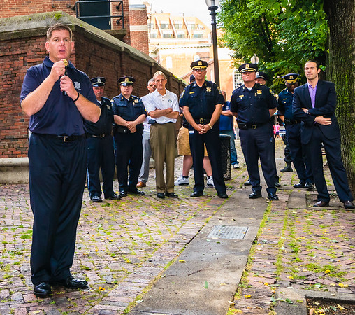 Boston Mayor Marty Walsh speads at North End National Night Out