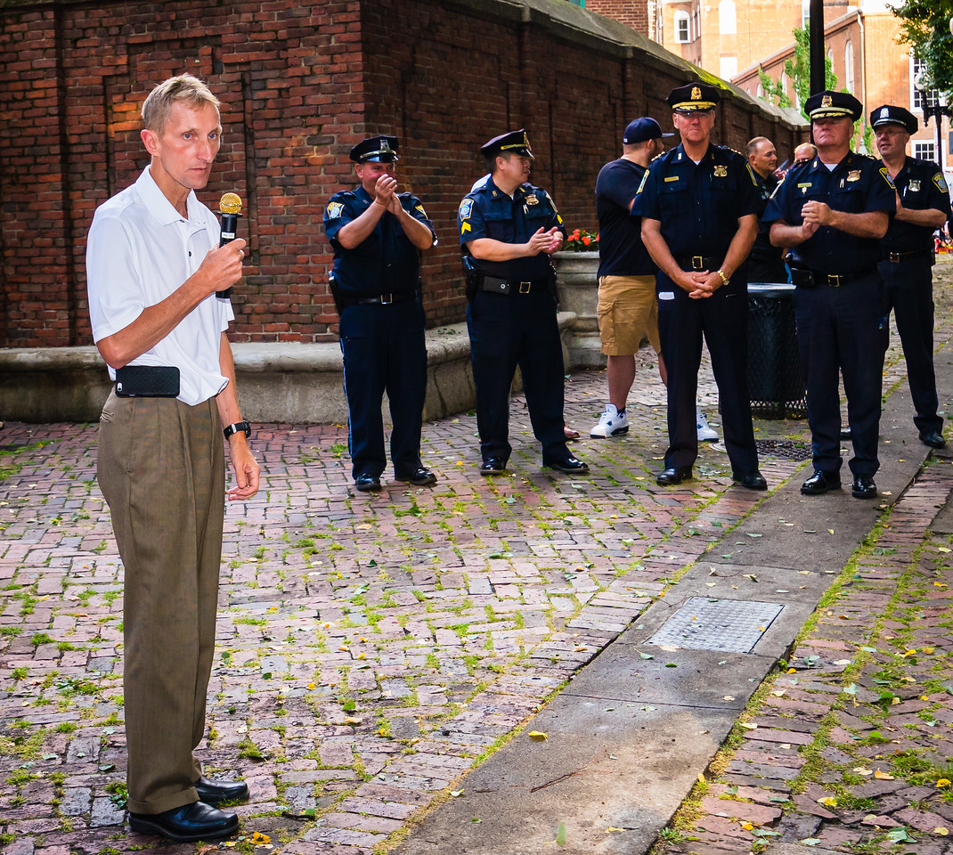 Boston Police Commissioner Evans speaks at North End National Night Out