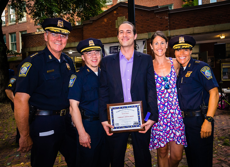 Presenting Community Service Award to David Marx, BPD Superintendent Bernard O'Rourke, BPD Captain Kenneth Fong,  BPD Community Director Kerry Ryan and BPD Dep. Superintendent Nora Baston