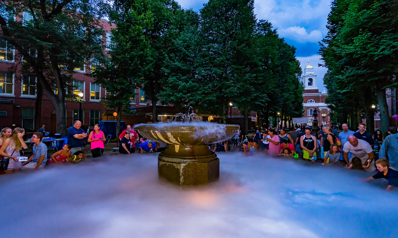 Gathering around the smoky fountain for North End National Night Out