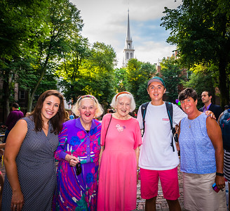 From the right, Eliot Principal Traci Walker Griffith with son Joey, Rosemary McAuliffe, Michele Morgan and Eliot intern