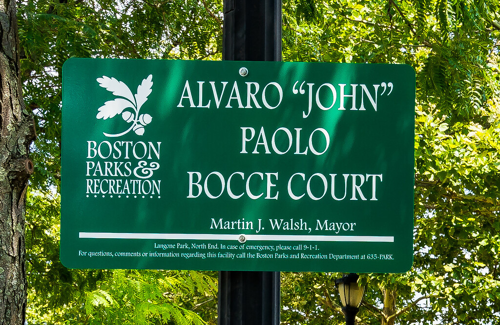 "Alvaro ""John"" Paolo Bocce Court Sign"