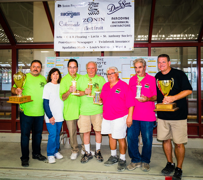 First place winners in green (center) Robert Magri and Matthew Norcia with 2nd place team in pink, Natale DeMarco and John Curciullo. On the far left is TONE founder Donato Frattaroli and the Post Gazette's Pam Donnaruma with Organzier Chris Zizza on far right.