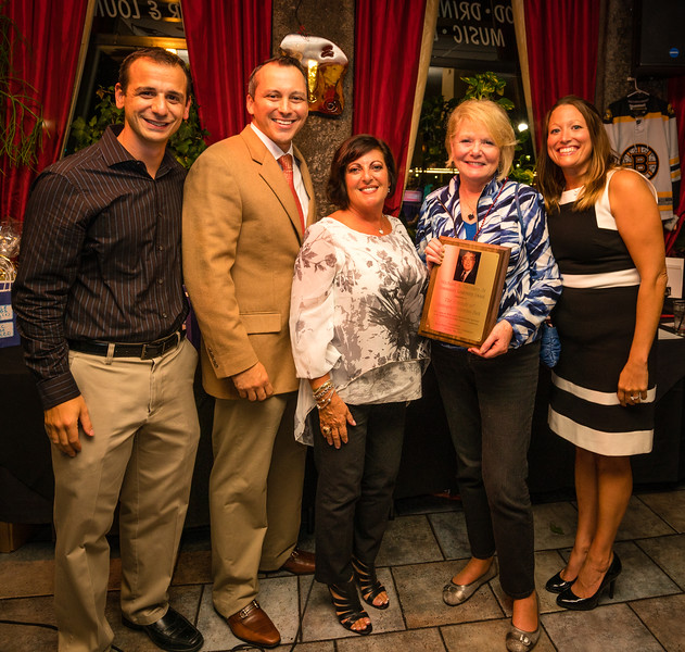Friends of Christopher Columbus Park accepting Michael A. Nazzaro, Jr. Community Leadership Award (L-R) Parade Chair Louis Strazzullo, State Rep. Aaron Michlewitz, Carla D'Orio (daughter of Michael Nazzaro), FOCCP President Joanne Hayes-Rines and Laurie Strazzullo (granddaughter of Michael Nazzaro)