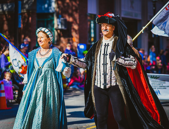 Costumed Christopher Columbus and wife Filipa Moniz Perestrelo