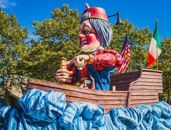 Santa Maria float with Christopher Columbus
