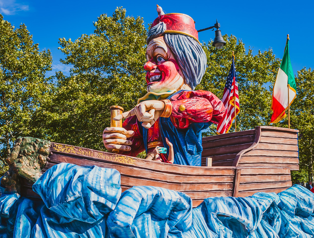 Santa Maria float with Christopher Columbus