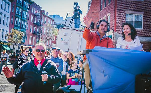 Dan Toscano (center) and Toni Gilardi broadcast for BNN TV with help from Sal Bartolo