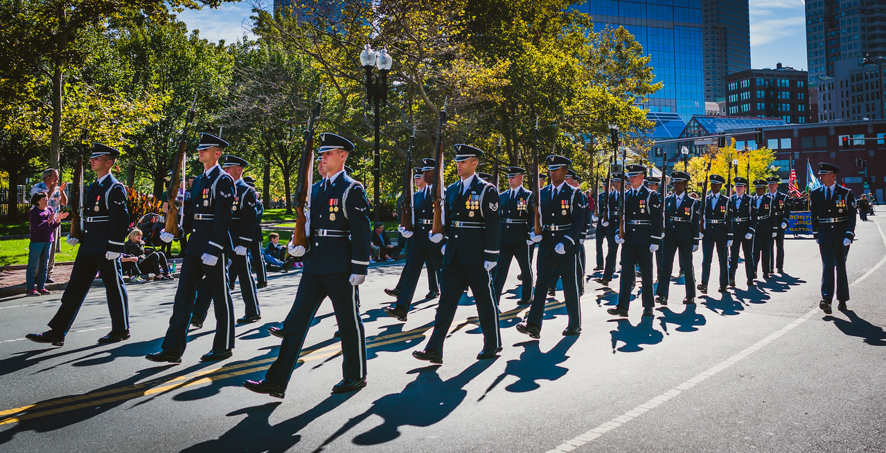 United States Air Force Honor Guard marching in step