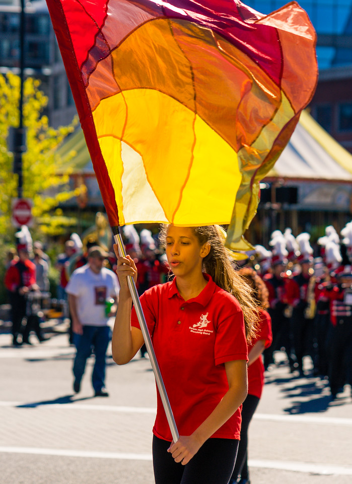 Flag thrower in Salem High School Marching Band