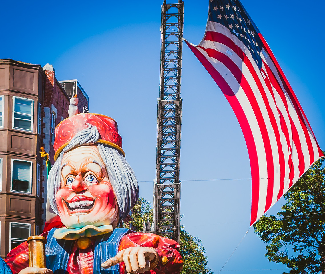Columbus Float with American flag on Hanover Street