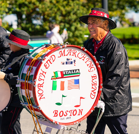 Bass drummer from the North End Marching Band