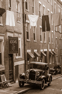 Margaret Street with 1920's car and laundry line