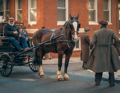 Horse cart moving down Sheafe Street