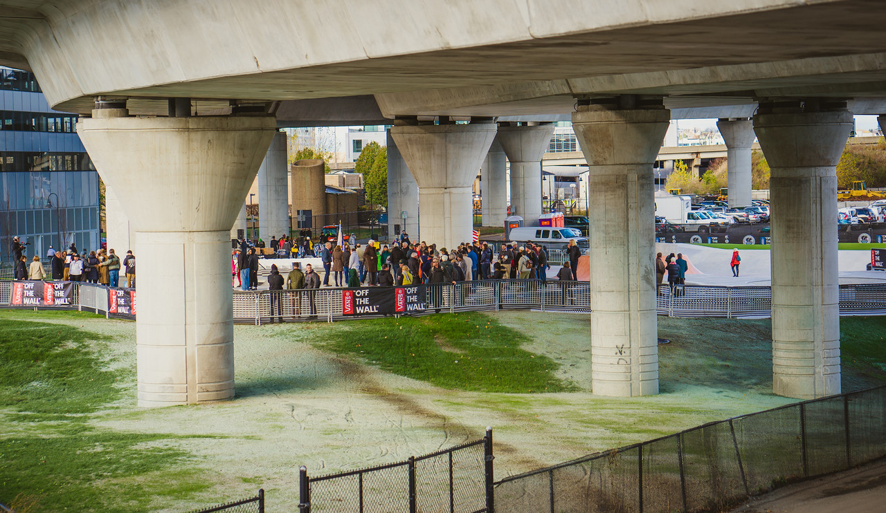 The skatepark is located under ramps to the Zakim Bridge, adjacent to North Point Park