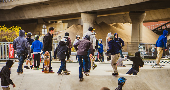 Initial rush of skaters at the opening of the park
