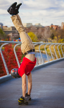 Stunt skateboarding at North Point Park