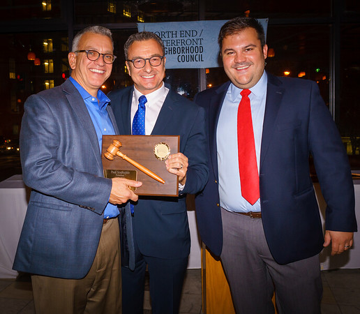 Former NEWNC President Paul Scappicchio is honored by City Councilor Sal LaMattina and current NEWNC President Philip Frattaroli