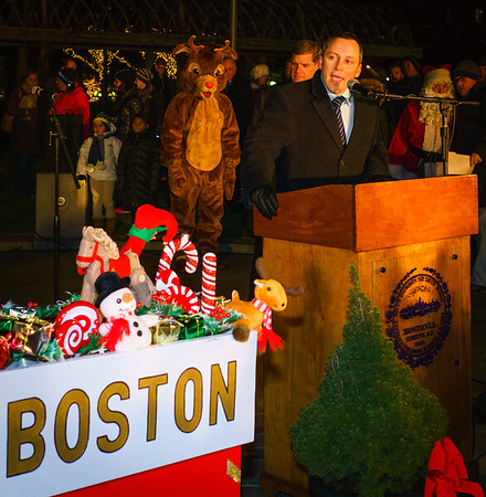 State Representative Aaron Michlewitz speaks at the trellis lighting