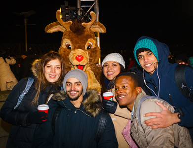 Fun with Rudolf at the trellis lighting