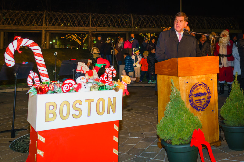 Boston Mayor Marty Walsh speaks before throwing the switch on the trellis lights at Christopher Columbus Park