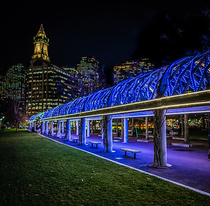 Blue lights at Christopher Columbus Park with the Boston skyline