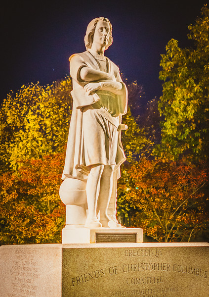 Lights have been fixed to shine on the Columbus statue