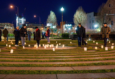 Looking toward the North End, people walked the labyrinth for the Winter Solstice