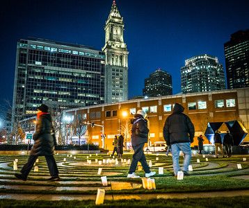 Walking the candlelit labyrinth during the world peace walk