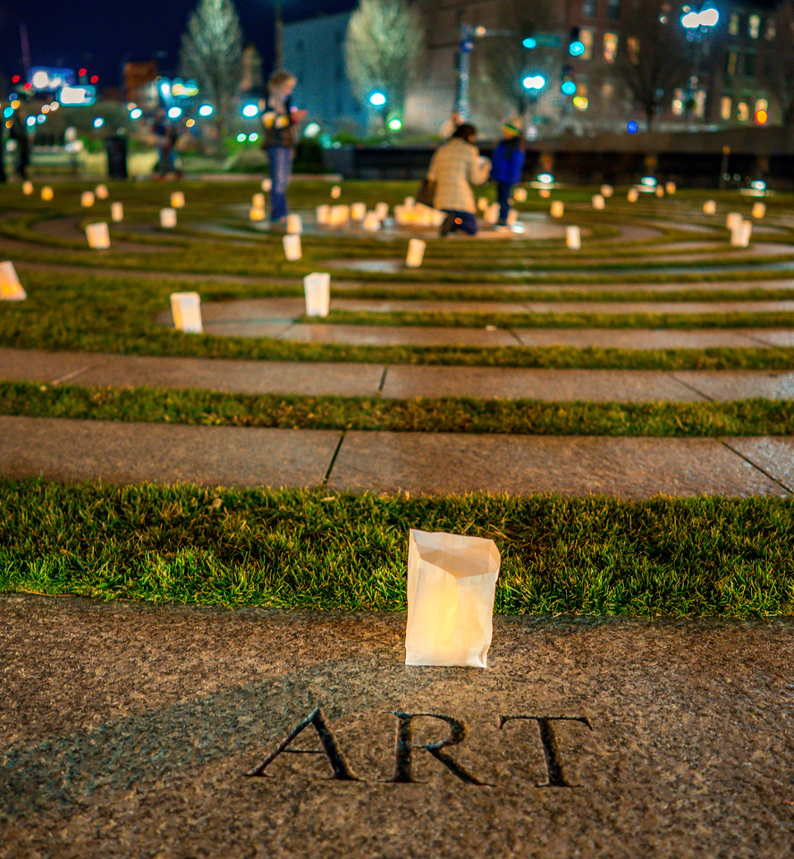 Patrons placed luminarias where it had meaning to them