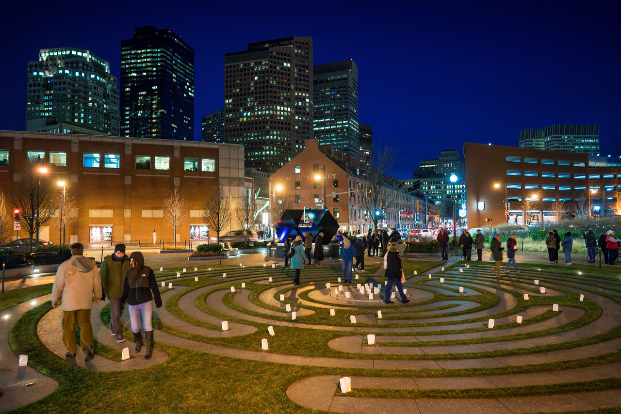 The labyrinth is located between Faneuil Hall and Christopher Columbus Park