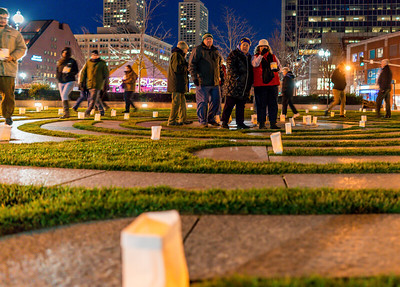 Locals and visitors came to participate in the candlelit labyrinth walk