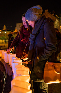 Participants took a lighted luminaria to place on the labyrinth