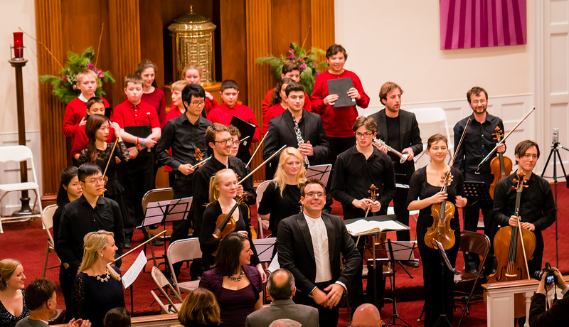 St. John School Honors Choir (in red) joined the Boston Landmarks Orchestra for the Hallelujah Chorus